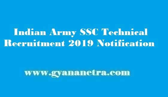 Indian Army SSC Technical Recruitment 2019