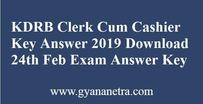 KDRB Clerk Cum Cashier Key Answer