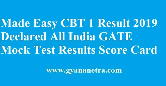 Made Easy CBT 1 Result