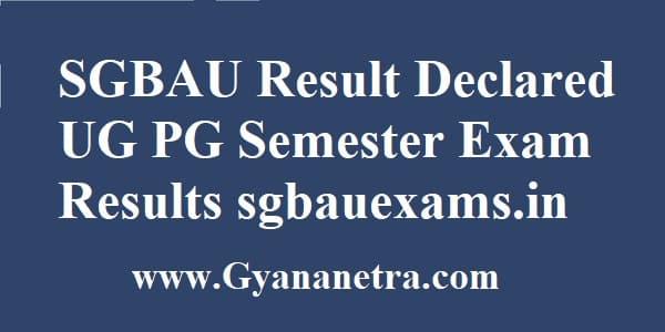 SGBAU Result UG PG Semester Exam