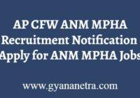 AP CFW ANM MPHA Recruitment Notification