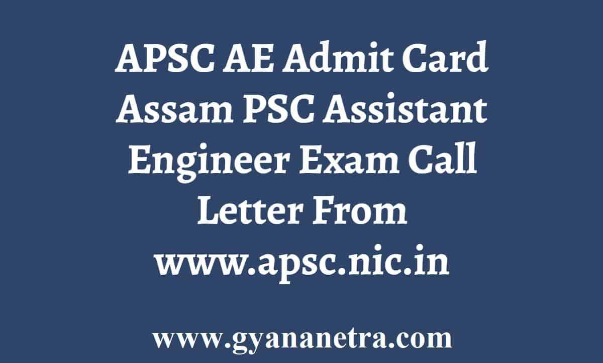 APSC AE Written Exam Admit Card