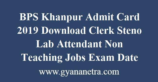 BPS Khanpur Admit Card