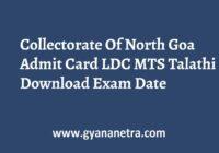 Collectorate Of North Goa Admit Card Exam Dates