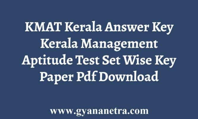 KMAT Kerala Answer Key Set Wise Pdf