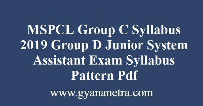 MSPCL Group C Syllabus