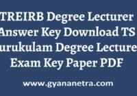 TREIRB Degree Lecturer Answer Key PDF