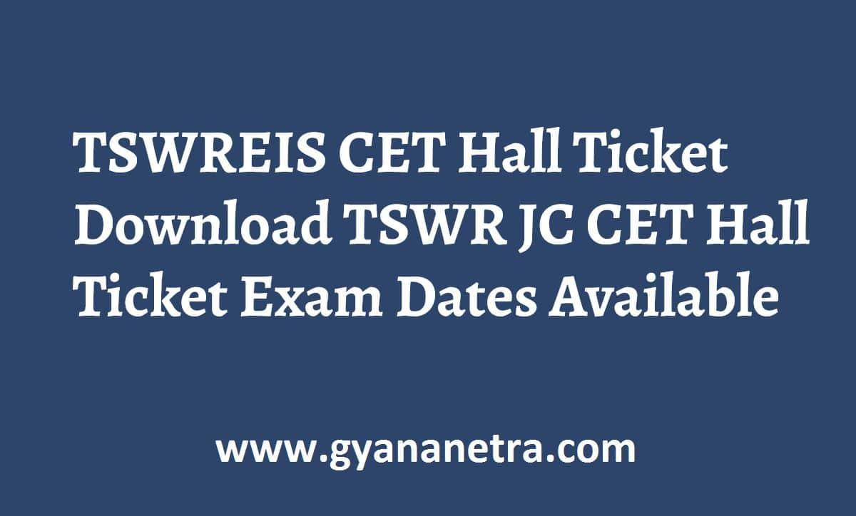TSWREIS Hall Ticket Exam Dates