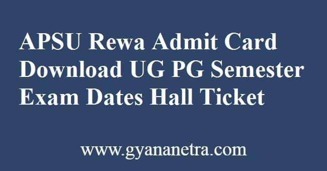 APSU Rewa Admit Card Download