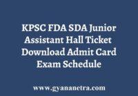 KPSC FDA SDA JA Hall Ticket
