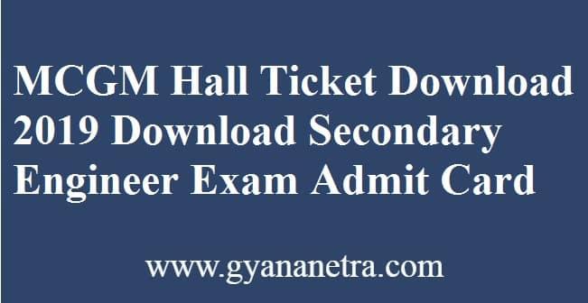 MCGM Hall Ticket Download