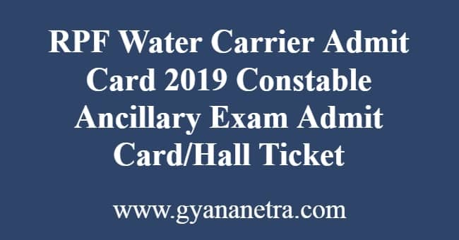 RPF Water Carrier Admit Card