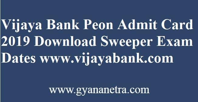 Vijaya Bank Peon Admit Card
