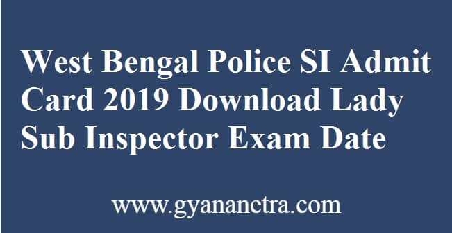 West Bengal Police SI Admit Card