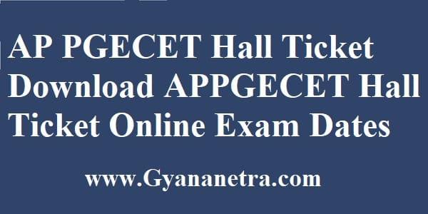 AP PGECET Hall Ticket Download Online