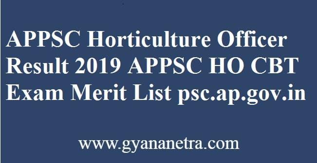 APPSC Horticulture Officer Result