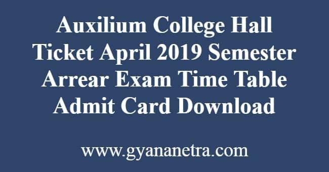 Auxilium College Hall Ticket April
