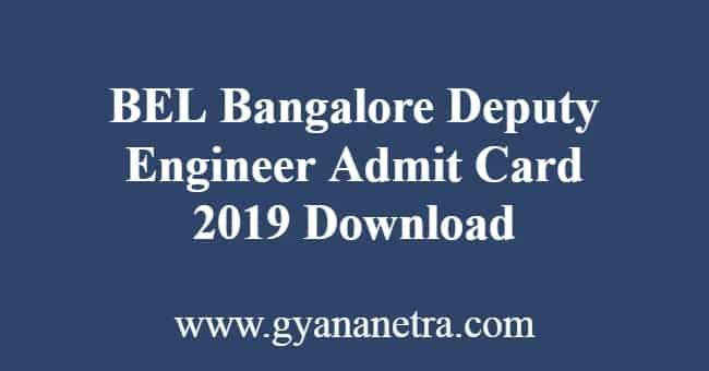 BEL Bangalore Deputy Engineer Admit Card