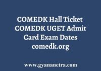 COMEDK Admit Card Hall Ticket