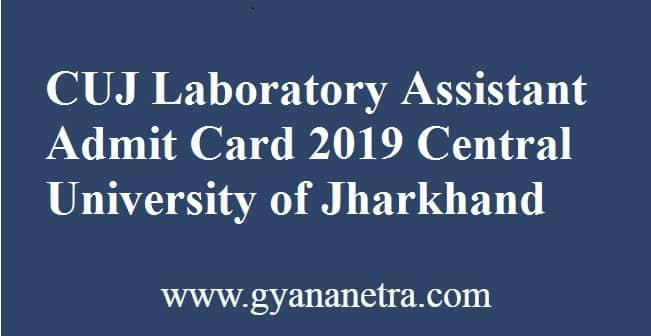 CUJ Laboratory Assistant Admit Card