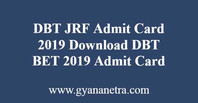 DBT JRF Admit Card