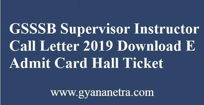 GSSSB Supervisor Instructor Call Letter