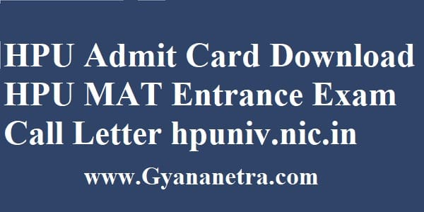 HPU Admit Card Exam Dates