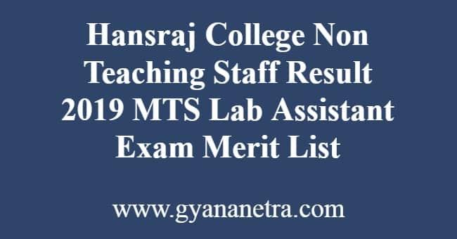 Hansraj College Non Teaching Staff Result