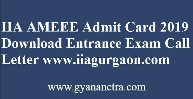 IIA AMEEE Admit Card