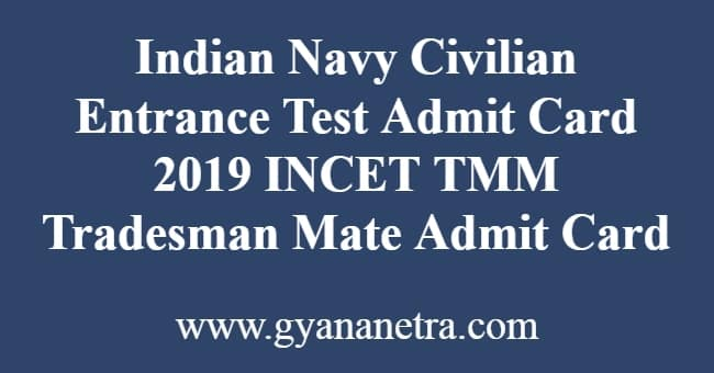 Indian Navy Civilian Entrance Test Admit Card