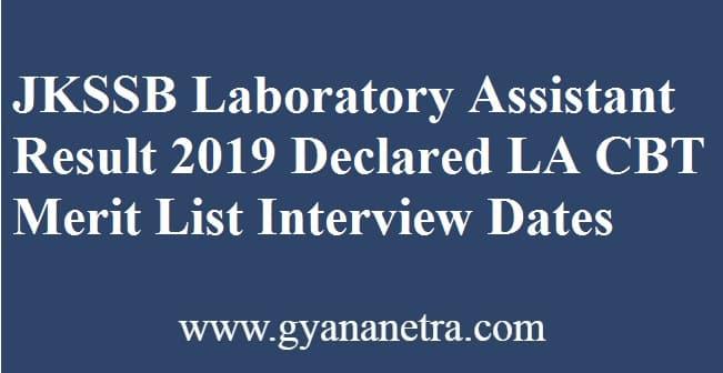 JKSSB Laboratory Assistant Result