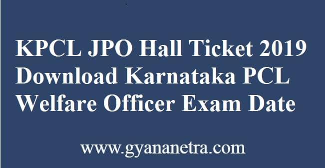 KPCL JPO Hall Ticket
