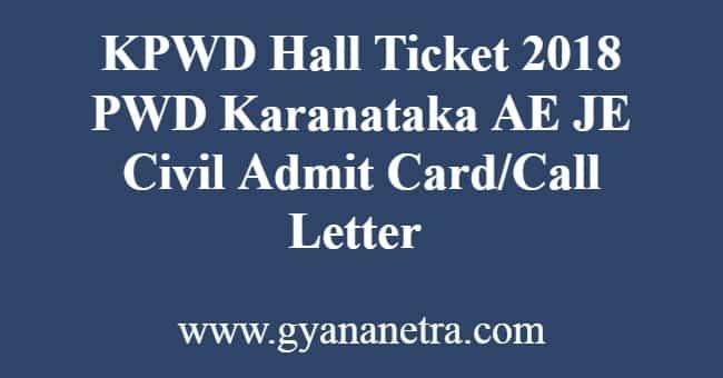 KPWD Hall Ticket
