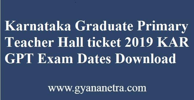 Karnataka Graduate Primary Teacher Hall ticket