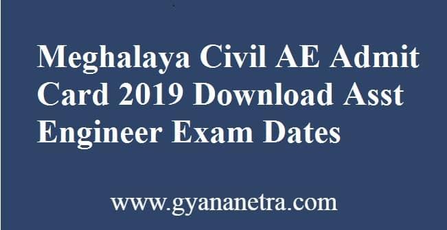 Meghalaya Civil AE Admit Card