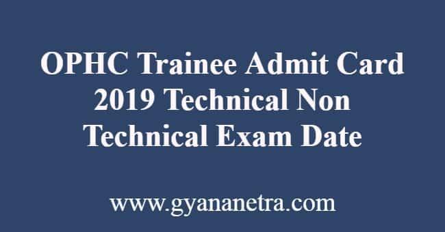 OPHC Trainee Admit Card