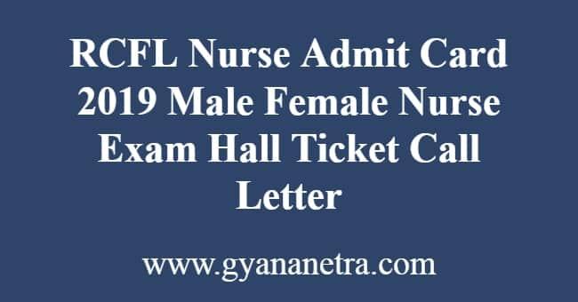 RCFL Nurse Admit Card