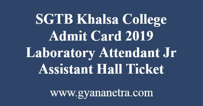SGTB Khalsa College Admit Card