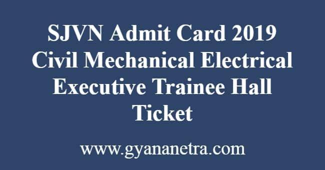 SJVN Admit Card