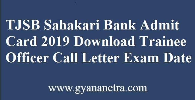TJSB Sahakari Bank Admit Card