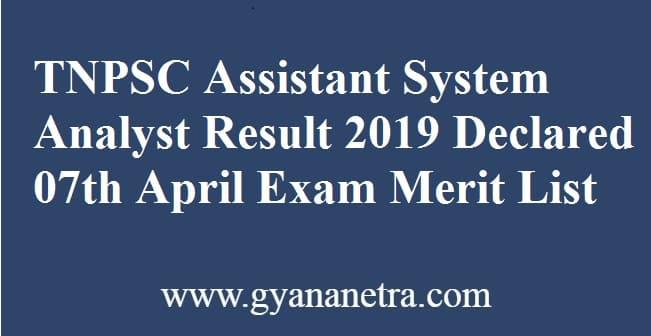 TNPSC Assistant System Analyst Result