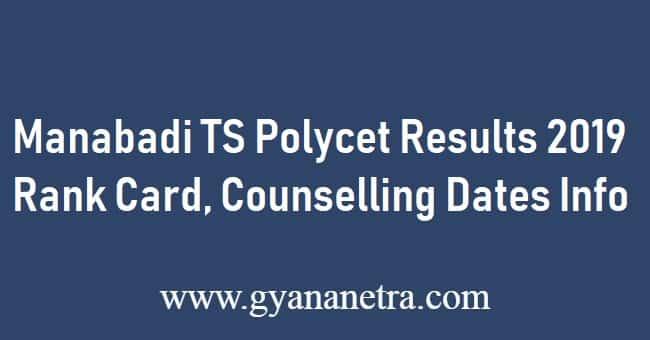 Manabadi TS POLYCET Results 2019