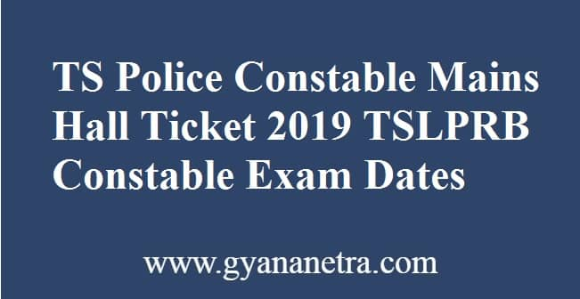 TS Police Constable Mains Hall Ticket