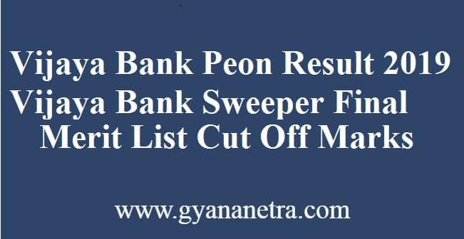 Vijaya Bank Peon Result