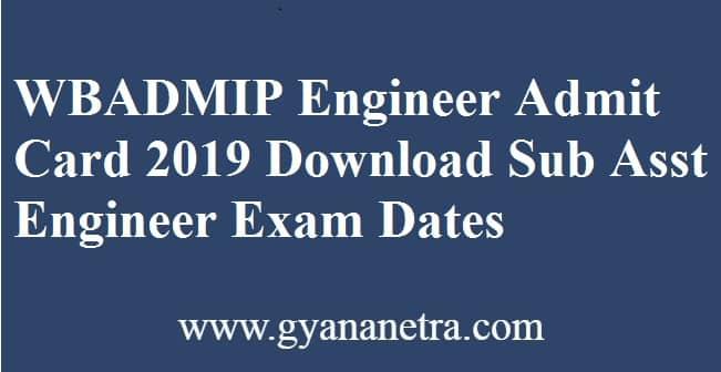 WBADMIP Engineer Admit Card