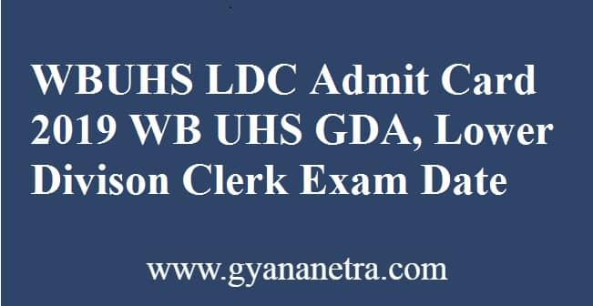 WBUHS LDC Admit Card