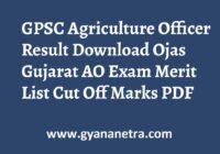 GPSC Agriculture Officer Result Merit List