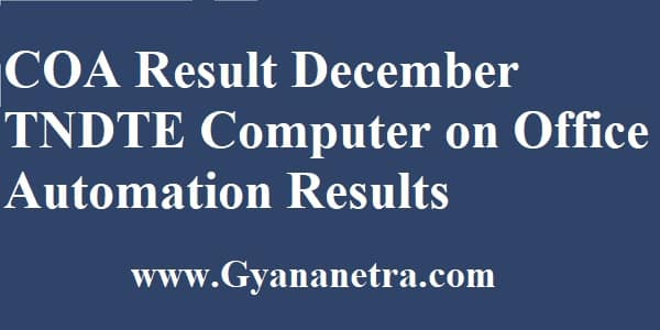 COA Result December TNDTE Computer on Office Automation