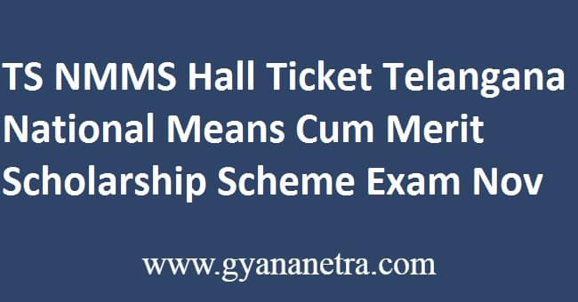 TS NMMS Hall Ticket Exam
