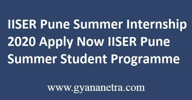 IISER Pune Summer Internship 2020 Apply